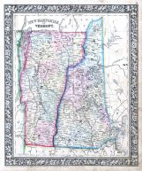 New Hampshire and Vermont, World Atlas 1864 Mitchells New General Atlas